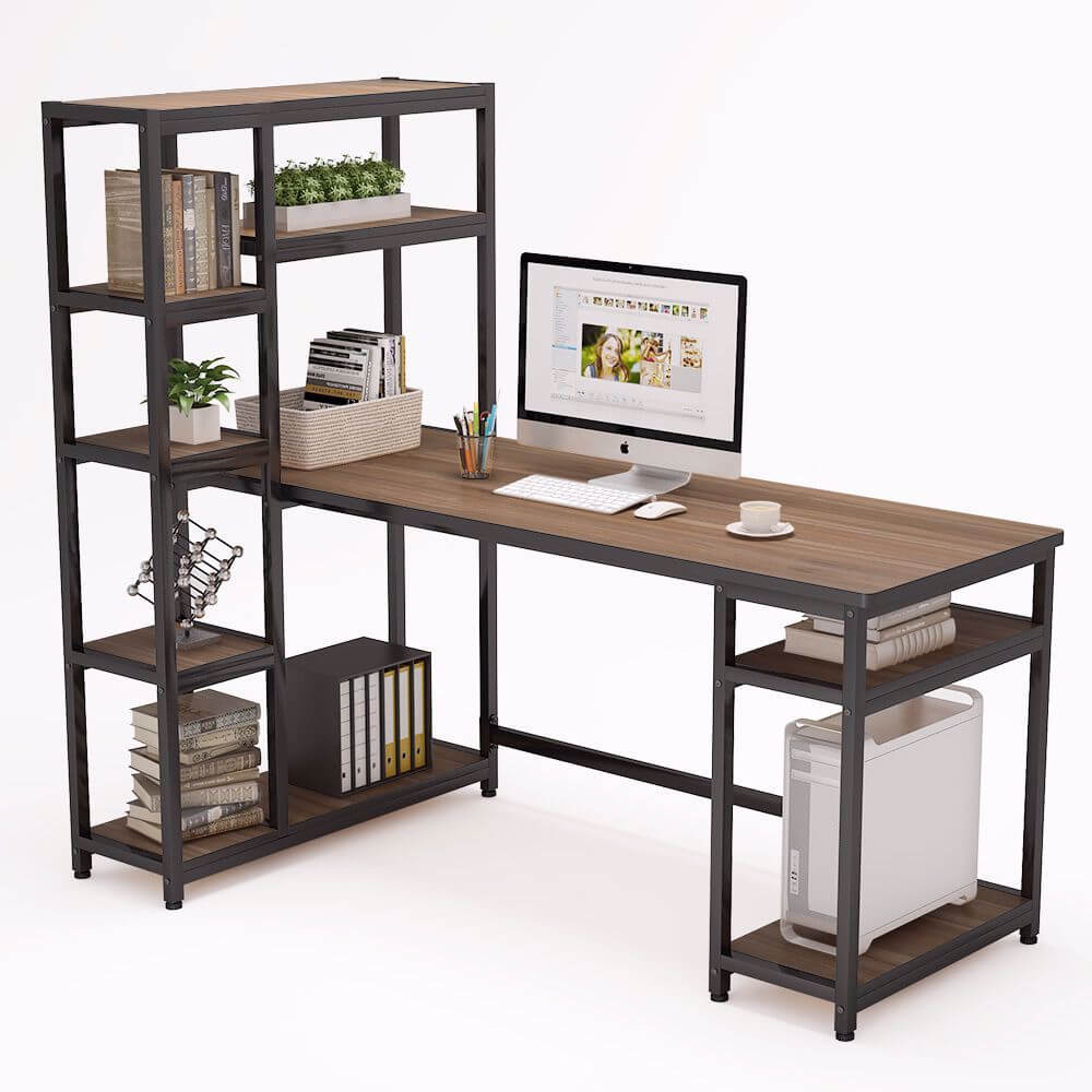 "Tribesigns 67 "" computer desk with 9 storage shelves"