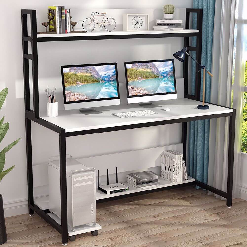 Tribesigns Computer 55 inches Desk with Bookshelf